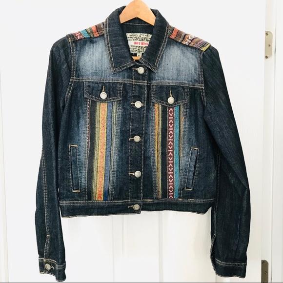Hot Kiss Jackets & Blazers - Boho Embroidered Denim Jacket